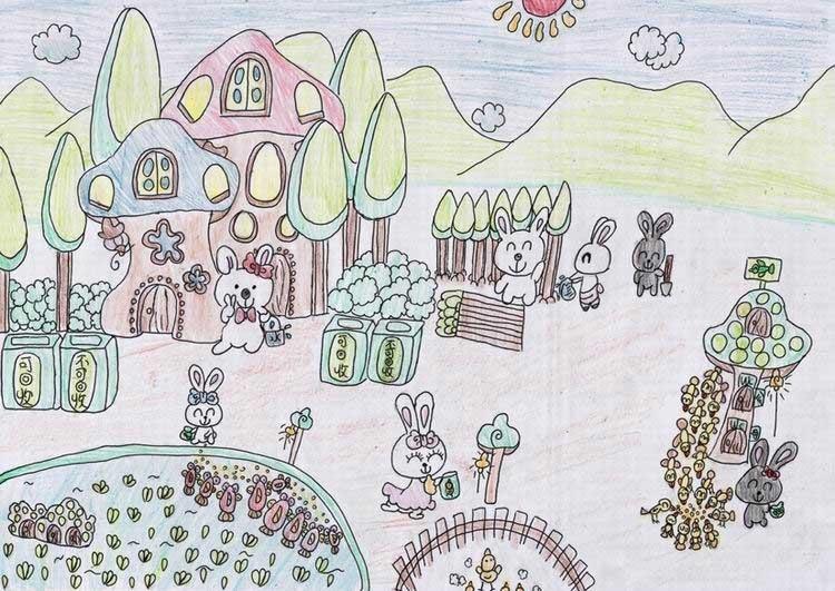 《环保e族》中国儿童环保教育计划暨中国儿童环保绘画大赛获奖作品 李雨彤(天津) 11岁 一群可爱的小兔子爱环保,在一片土地上建立了一座屋子,并天天植树、喂养小动物、在一片荒芜上创造了契机。所以我把这群可爱的小兔子叫做环保e族! (图3)