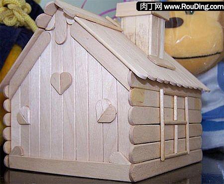 天天洁--环保作品--冰棒棍手工制作小房子--天天洁